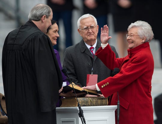 Alabama Gov. Kay Ivey is sworn in during Inauguration  Day on the steps of the Alabama State Capitol in Montgomery, Ala., on Monday, Jan. 14, 2019.