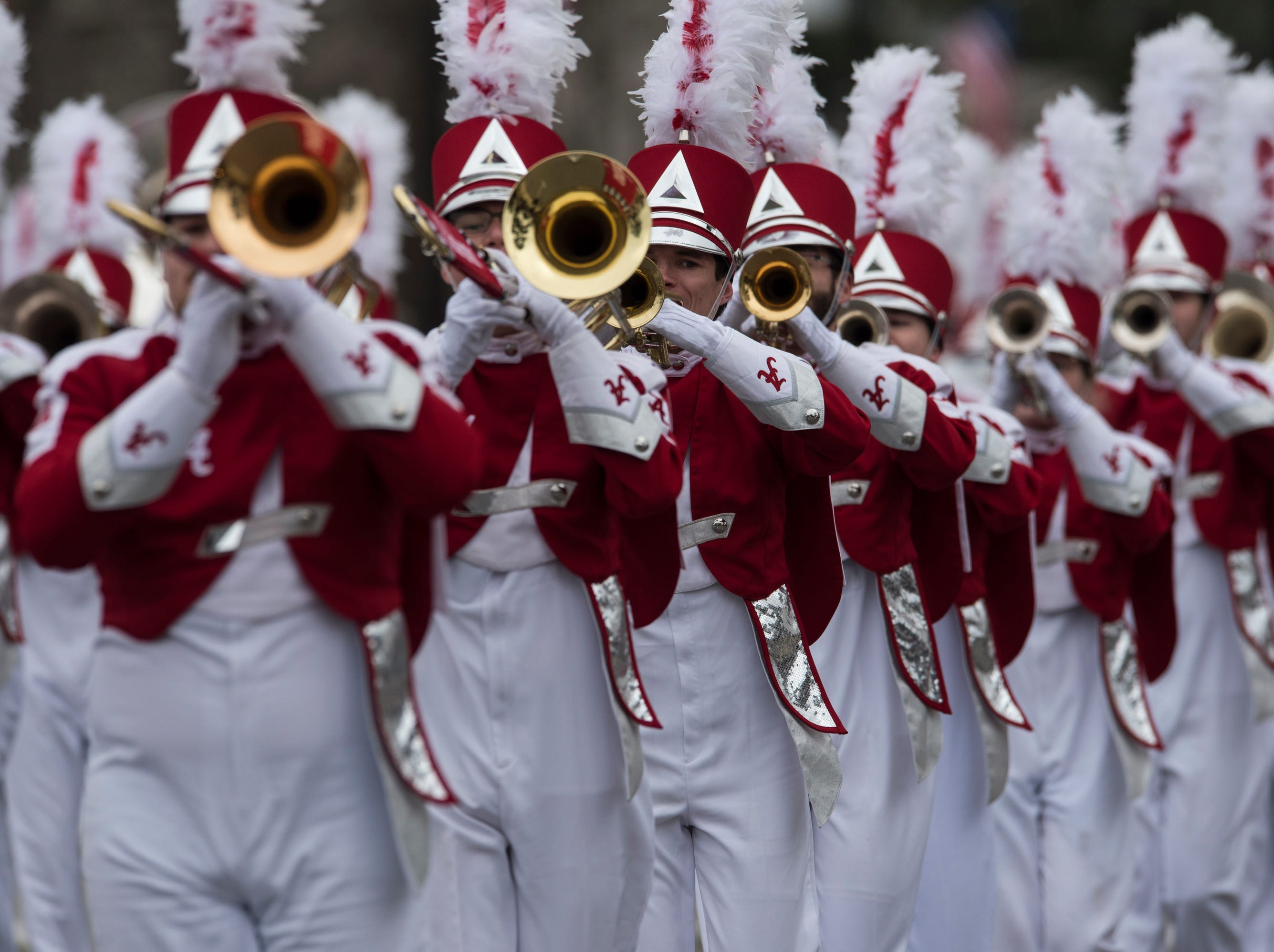 Alabama University marching band plays during the inauguration day parade in Montgomery, Ala., on Monday, Jan. 14, 2019.