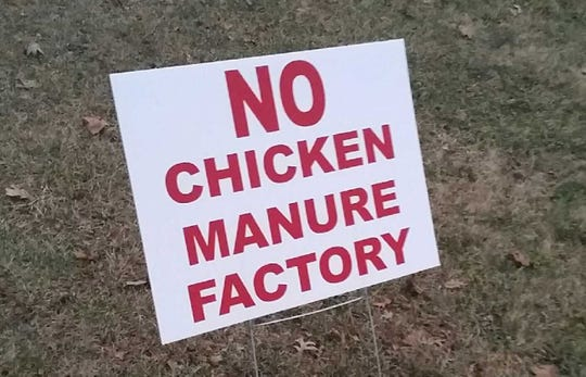 A yard sign protests a proposed 80-acre industrial rezoning south of Montpleier.