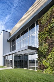 A green wall grows on the North American headquarters/production facility at Italpollina in Anderson.