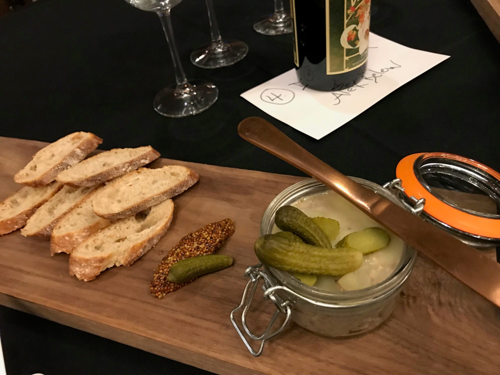 Spiced pork rillette with pickles and mustard was one of two items served by Dallas & Jane chef/owner Alex Belew at the 2019 Taste of Elegance.