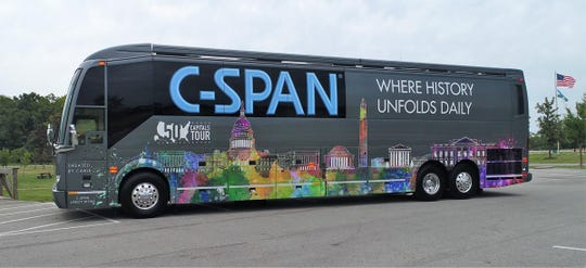 The 45-foot customized C-SPAN bus will make its interactive exhibits and high-tech facilities available at MTSU from 12:30 to 2 p.m. Wednesday, Jan. 16, in the parking lot of MTSU's Paul W. Martin Sr. Honors Building.