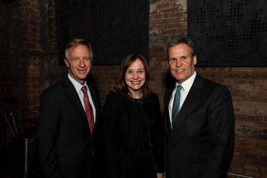 Tennessee Gov. Bill Haslam, GM CEO Mary Barra and Gov.-elect Bill Lee.