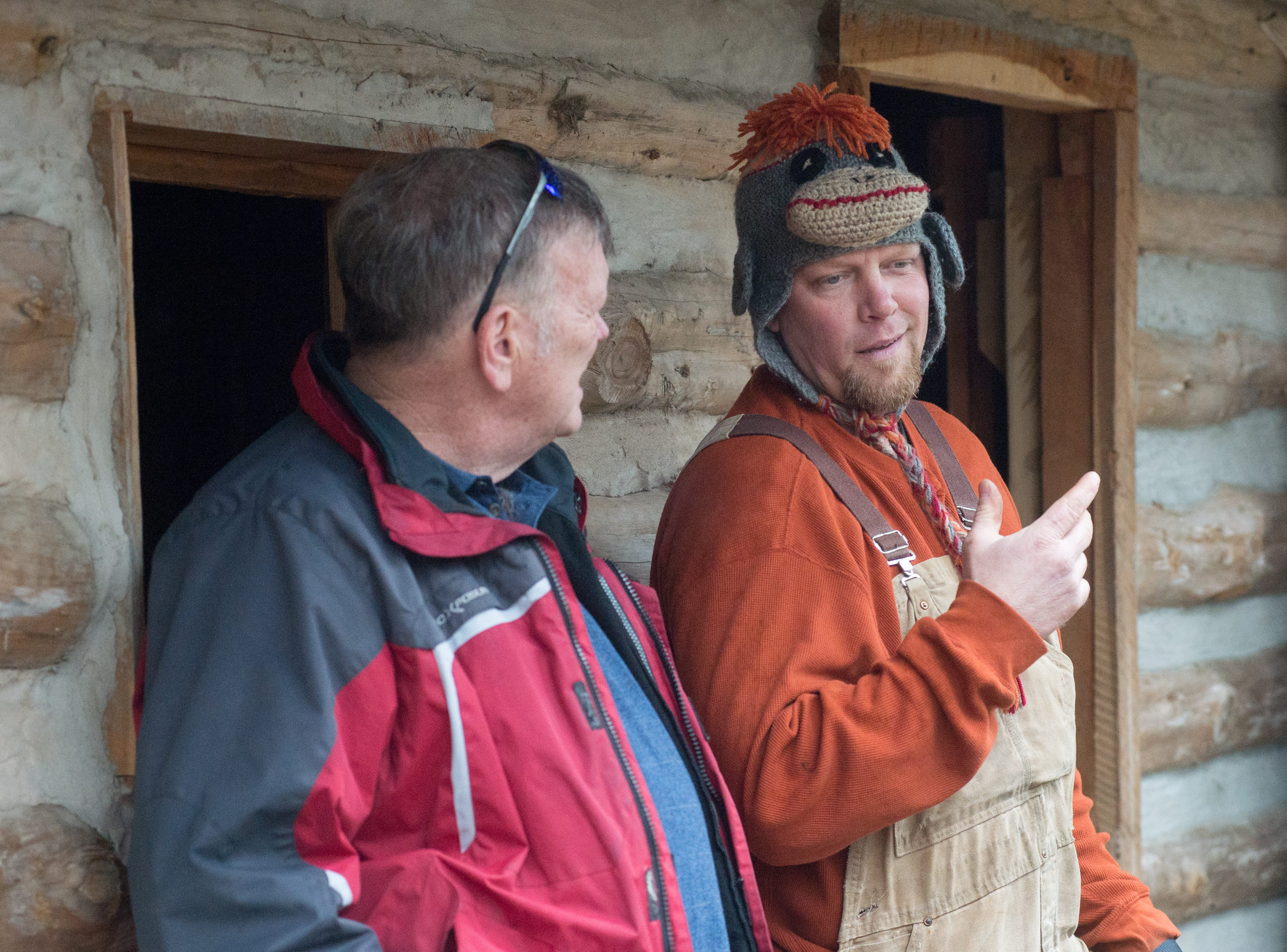 Bledsoe Creek State Park Manager Chris Thurman (right) chats with former manager Rick Brooks during during a Tomahawk Throwing for Beginners event hosted by Middle Tennessee History Coalition at Bledsoe Creek State Park on Saturday, Jan. 12.