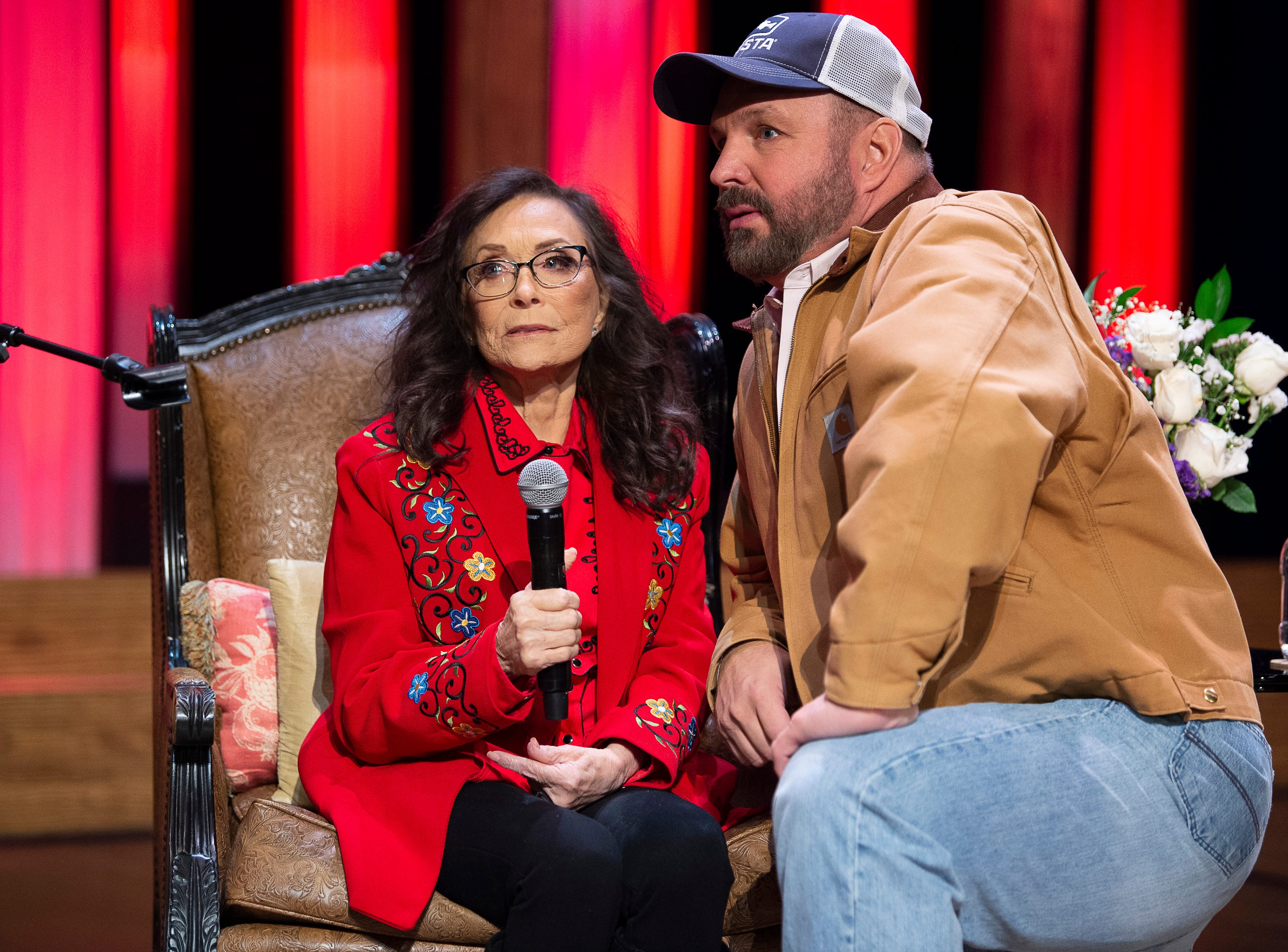 """Loretta Lynn and Garth Brooks announce during a press conference at the Grand Ole Opry on  Jan. 14, 2019, that she will celebrate her 87th birthday in April with a concert performed by her friends. The concert will be """"Loretta Lynn: An All-Star Birthday Celebration Concert"""" on April 1 at Bridgestone Arena."""