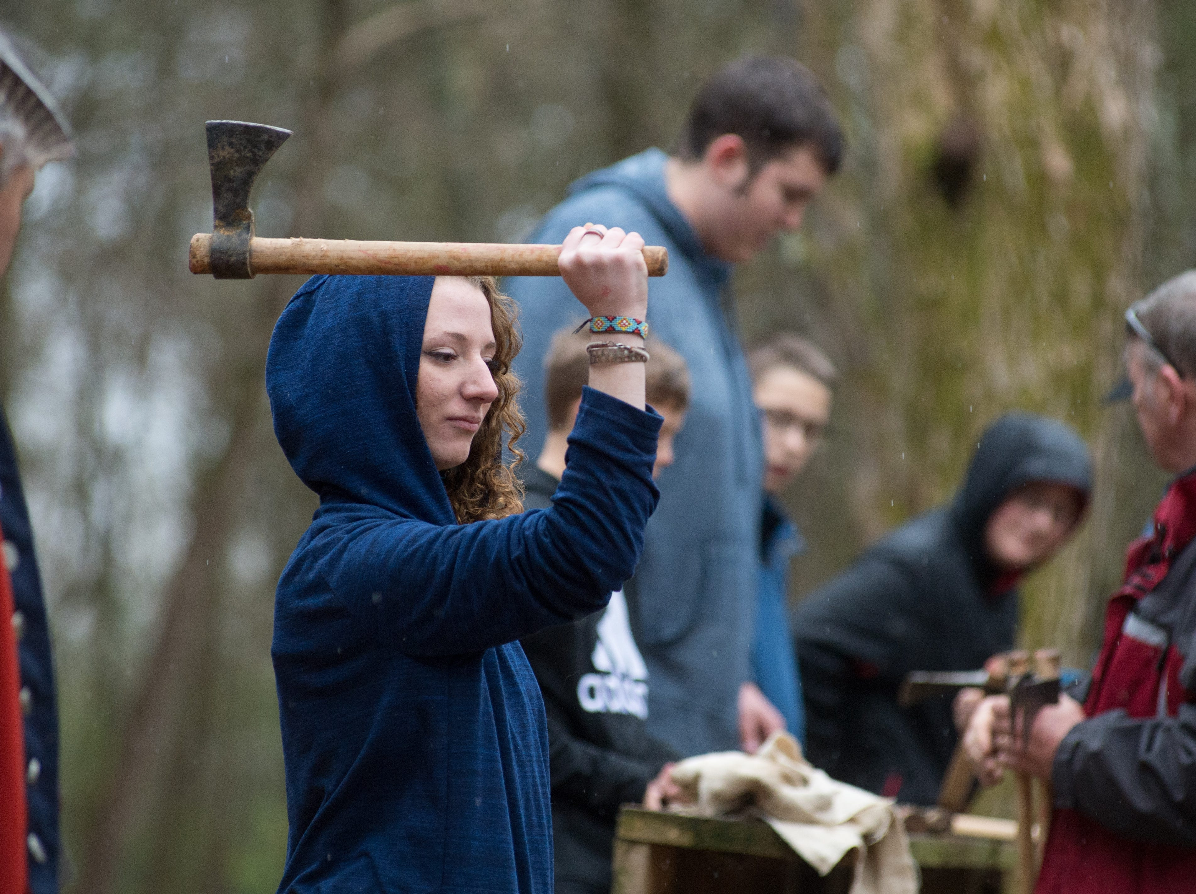 Emily May participates in a Tomahawk Throwing for Beginners event hosted by Middle Tennessee History Coalition at Bledsoe Creek State Park on Saturday, Jan. 12.