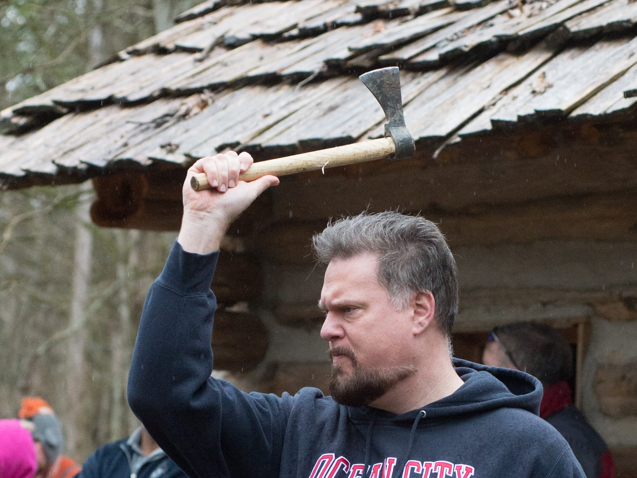 Ron Oestreicher enjoys a Tomahawk Throwing for Beginners event hosted by Middle Tennessee History Coalition at Bledsoe Creek State Park on Saturday, Jan. 12.