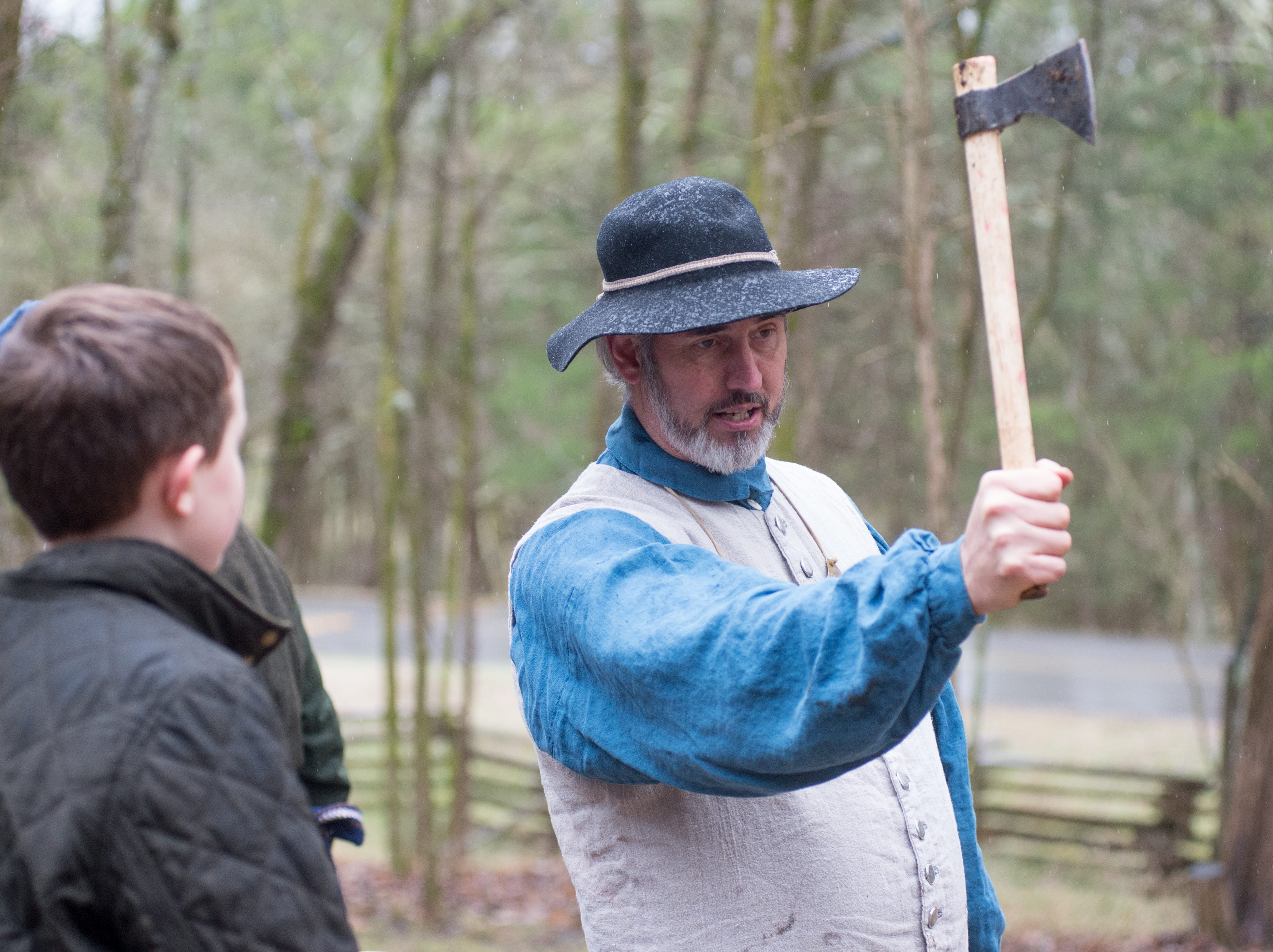 Robert Lanier, the President of the Middle Tennessee History Coalition, helps with a Tomahawk Throwing for Beginners event hosted by Middle Tennessee History Coalition at Bledsoe Creek State Park on Saturday, Jan. 12.