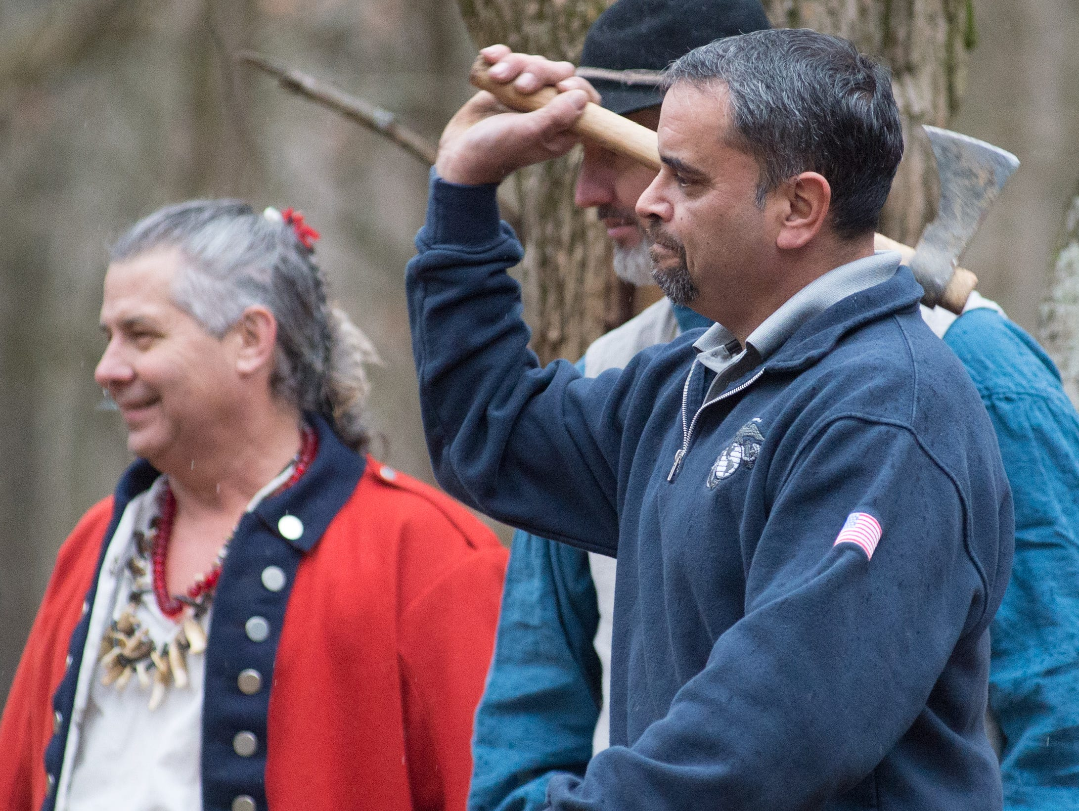 River Pollington participates in a Tomahawk Throwing for Beginners event hosted by Middle Tennessee History Coalition at Bledsoe Creek State Park on Saturday, Jan. 12.