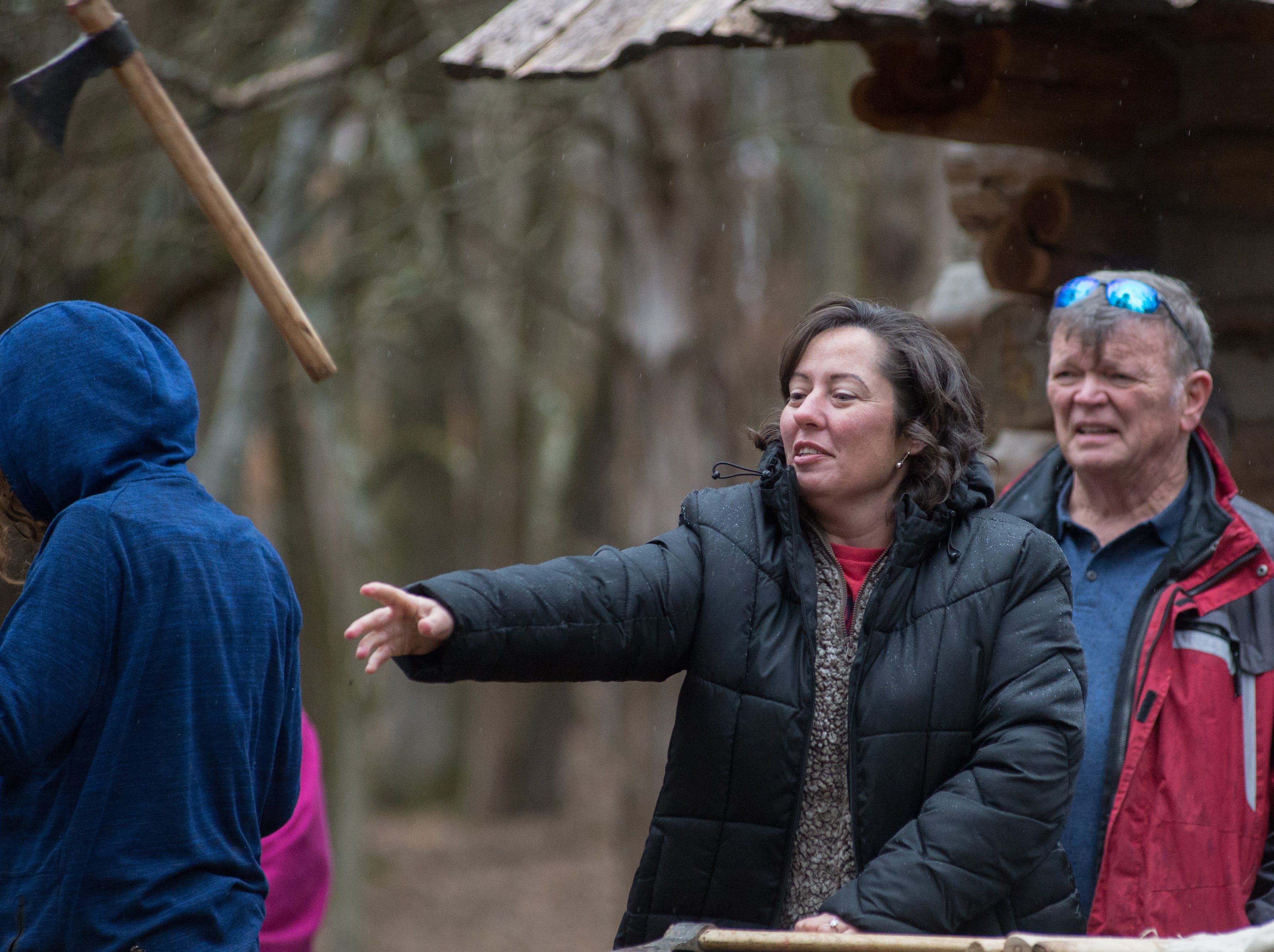 Aundrea Horton lets it fly during a Tomahawk Throwing for Beginners event hosted by Middle Tennessee History Coalition at Bledsoe Creek State Park on Saturday, Jan. 12.