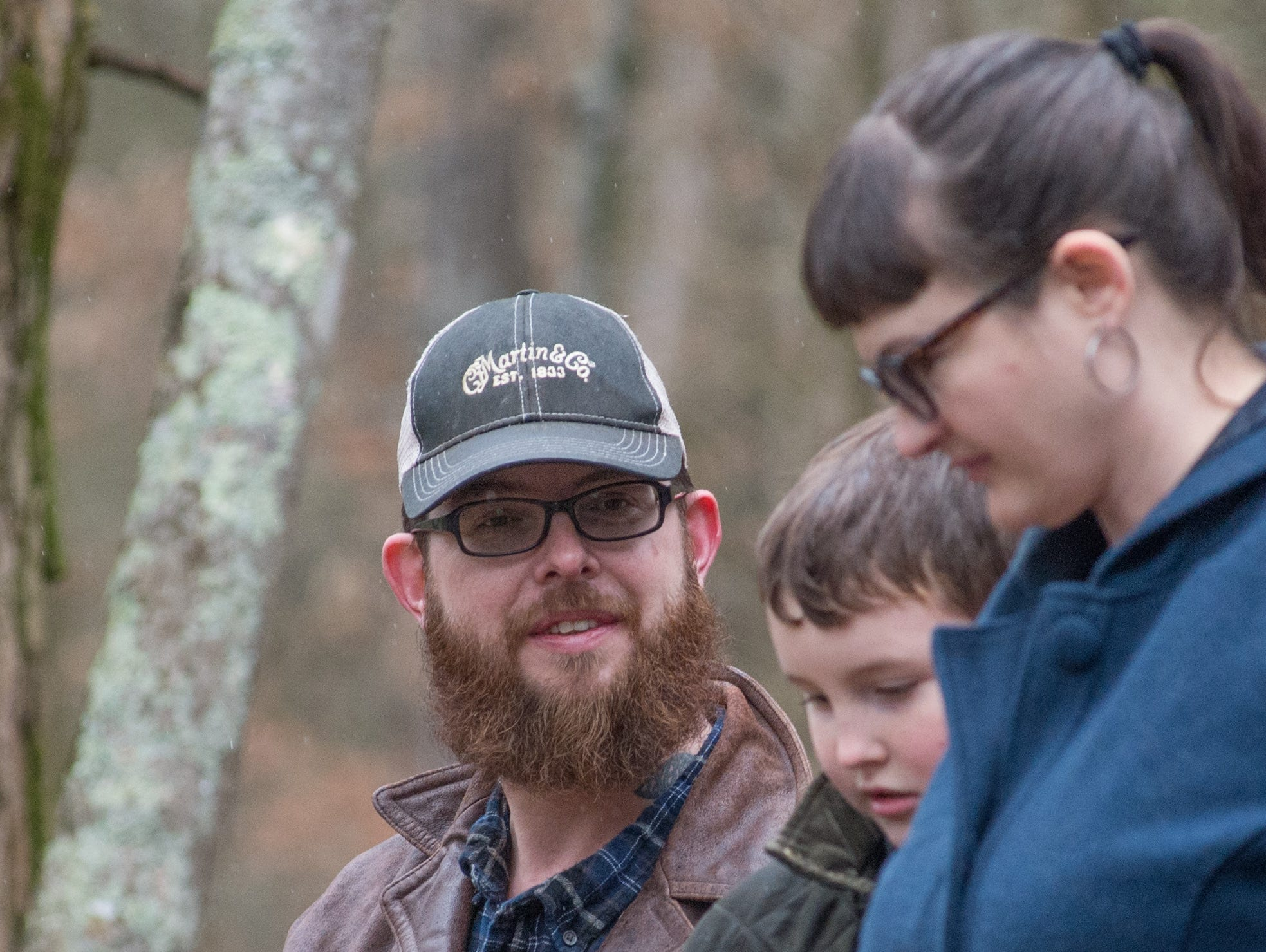 Jake Cooper looks on during a Tomahawk Throwing for Beginners event hosted by Middle Tennessee History Coalition at Bledsoe Creek State Park on Saturday, Jan. 12.