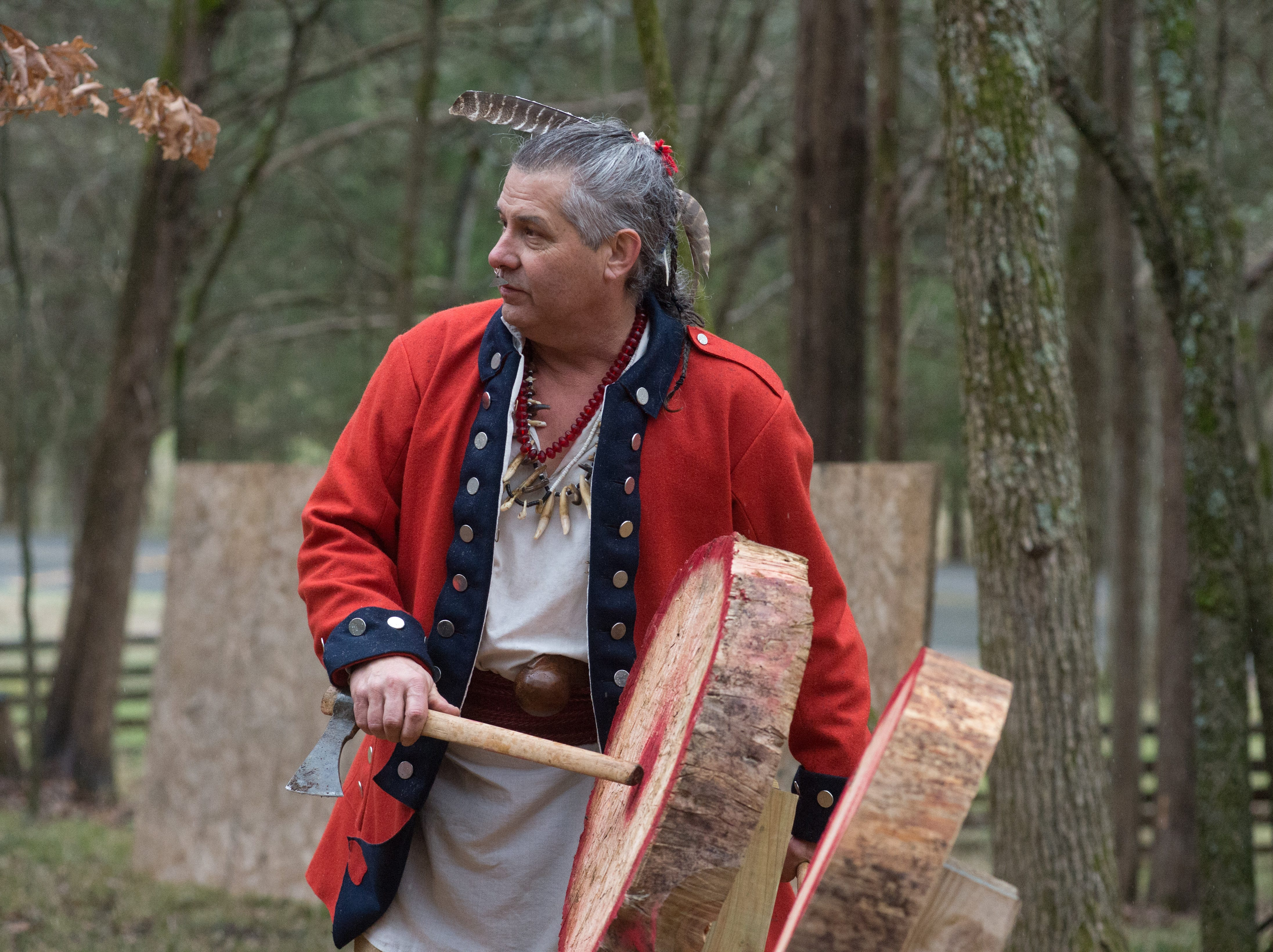 Anthony Martin gives instruction during a Tomahawk Throwing for Beginners event hosted by Middle Tennessee History Coalition at Bledsoe Creek State Park on Saturday, Jan. 12.
