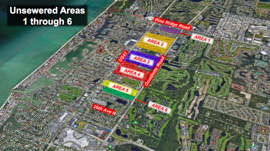 A map of six areas that use septic tanks. Although the areas are outside Naples city limits, they're within the city's utilities service district, and the Naples City Council is planning to connect all of the areas to its sewer system.