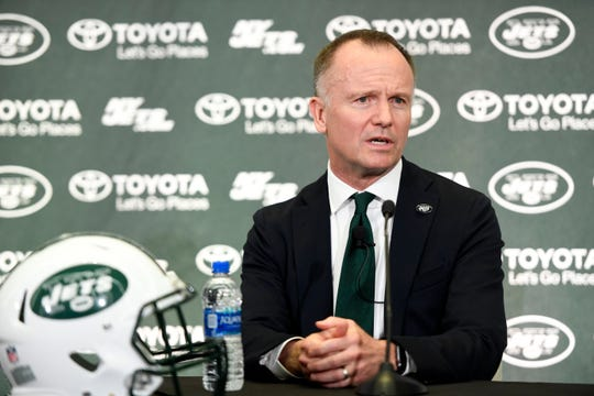 New York Jets CEO and Chairman Christopher Johnson holds a press conference introducing the new head coach Adam Gase (not pictured) on Monday, Jan. 14, 2019, in Florham Park.
