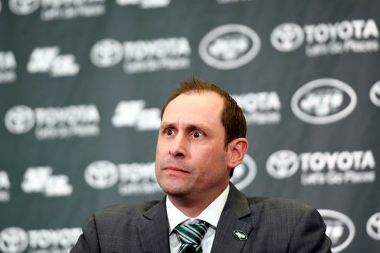 New York Jets new head coach Adam Gase speaks to the media during a press conference on Monday, Jan. 14, 2019, in Florham Park.