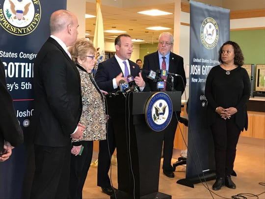 Rep. Josh Gottheimer discusses the impact of furloughed FDA workers on food safety during a press conference at Holy Name Medical Center in Teaneck on Jan. 14.