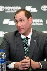 The New York Jets new head coach Adam Gase speaks to reporters during a press conference on Monday, Jan. 14, 2019, in Florham Park.