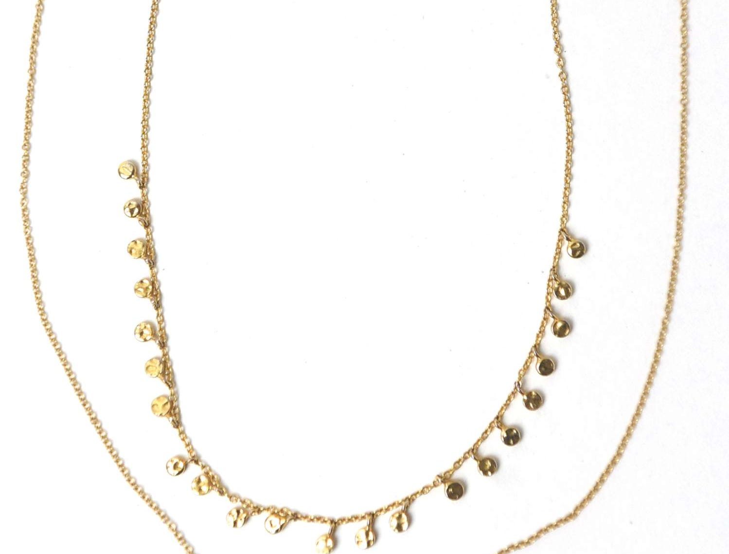 Gold Chain Necklaces: They're perfect to go with just about any outfit and they're gold — my favorite!The smaller necklace is from a brand called Gorjana and the evil eye is David Yurman; Kendall Marie Zoppa (201) Personal Style