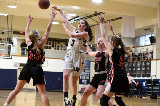 NV/Old Tappan guard Noelle Gonzalez (3) passes to a teammate as Westwood's Meghan Reidel (20) defends during The Benefit Games at IHA on Sunday, Jan. 13, 2019 Washington Twp. Both schools are contenders for the upcoming Bergen County tournament.