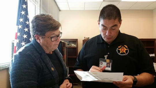 Doña Ana County Sheriff Kim Stewart, left, with Undersheriff Jaime Quezada on Friday, Jan. 4, 2019 at the Doña Ana County Government Center, 845 N. Motel Blvd., in Las Cruces.