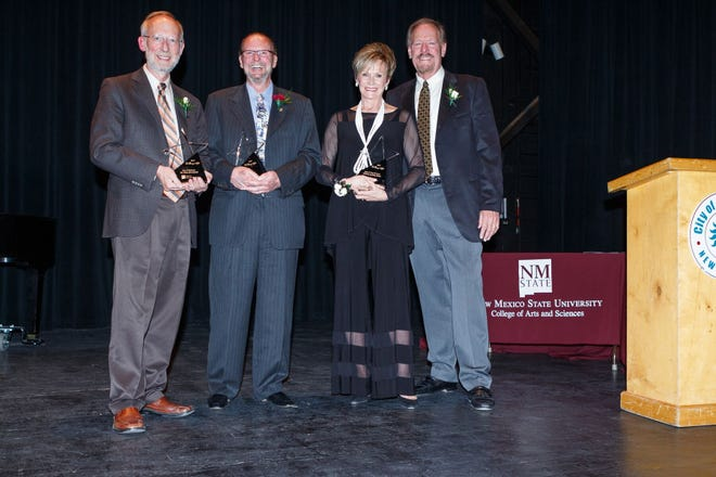 """NMSU College of Arts and Sciences 2018 honorees at the """"Starry Night"""" awards gala at the Rio Grande Theatre in downtown Las Cruces. From left, Don Cleveland, John Schutz, Mickey and Jan Clute."""