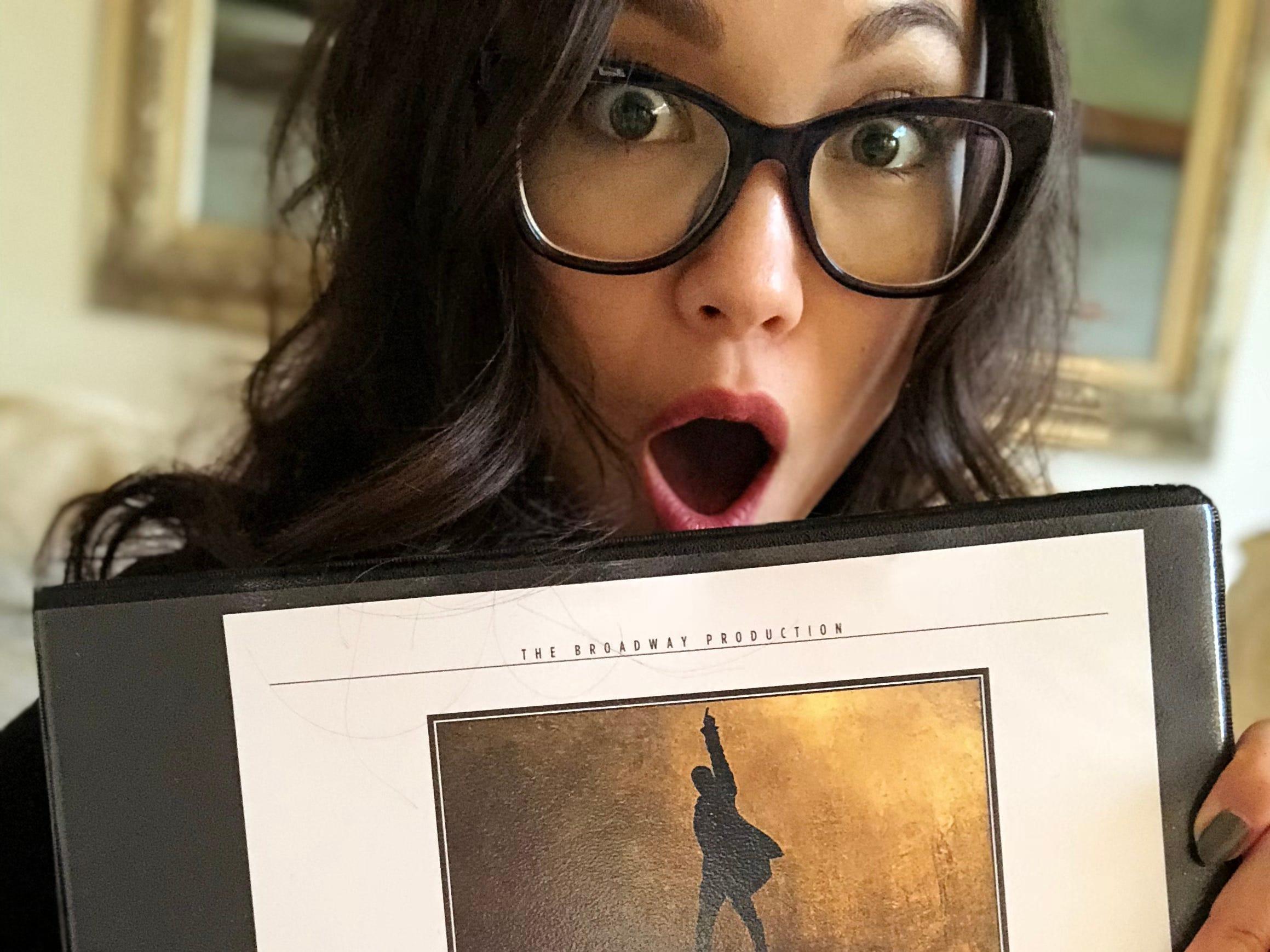 Sabrina Imamura reacts when given her first Hamilton script.