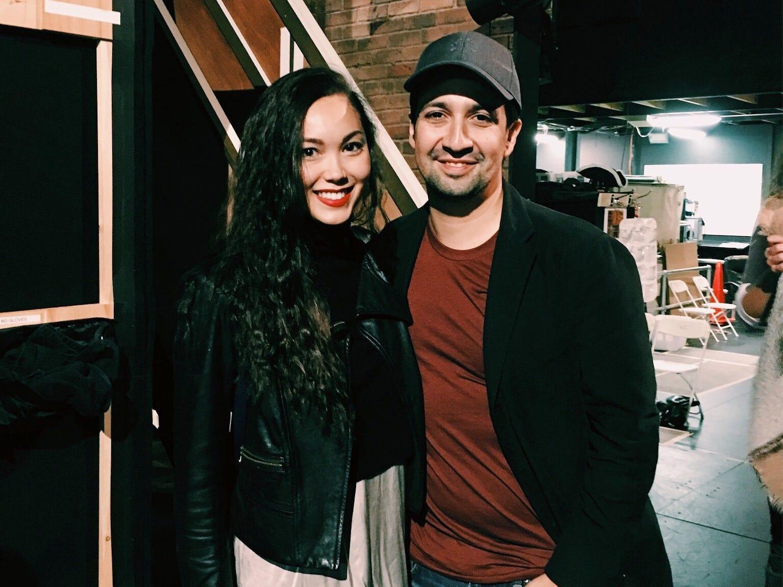 Sabrina Imamura with Hamilton creator Lin-Manuel Miranda.