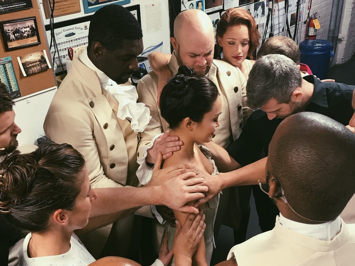 A Broadway tradition is for cast members to pray with an actor making his or her debut.