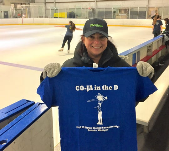 Michelle Hunt, coach of Junior Pairs skaters Cora DeWyre and Jacob Nussle, already has her T-shirt ready for support when the two will perform at the U.S. Figure Skating Nationals in Detroit.