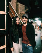 Sabrina Imamura is pictured with Hamilton creator Lin-Manuel Miranda.