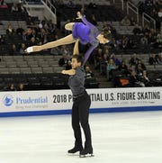 Cora DeWyre (top) and Jacob Nussle compete in last year's U.S. Figure Skating Championships in San Jose, Calif.