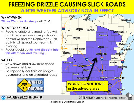 National Weather Service issues winter weather advisory for much of state of Wisconsin, advising of freezing rain.