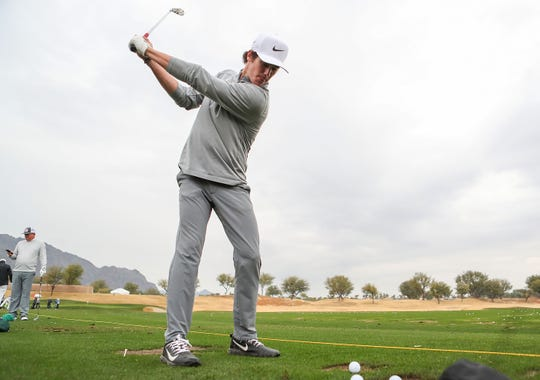 19-year-old Charlie Reiter practices at PGA West for the upcoming Desert Classic golf tournament, January 14, 2018