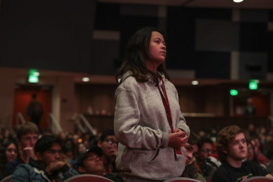 Lexi Gutierrez asks a question during a screening of 'Inventing Tomorrow' at a Palm Springs International Film Festival event for local high school students, Calif., January 14, 2018.