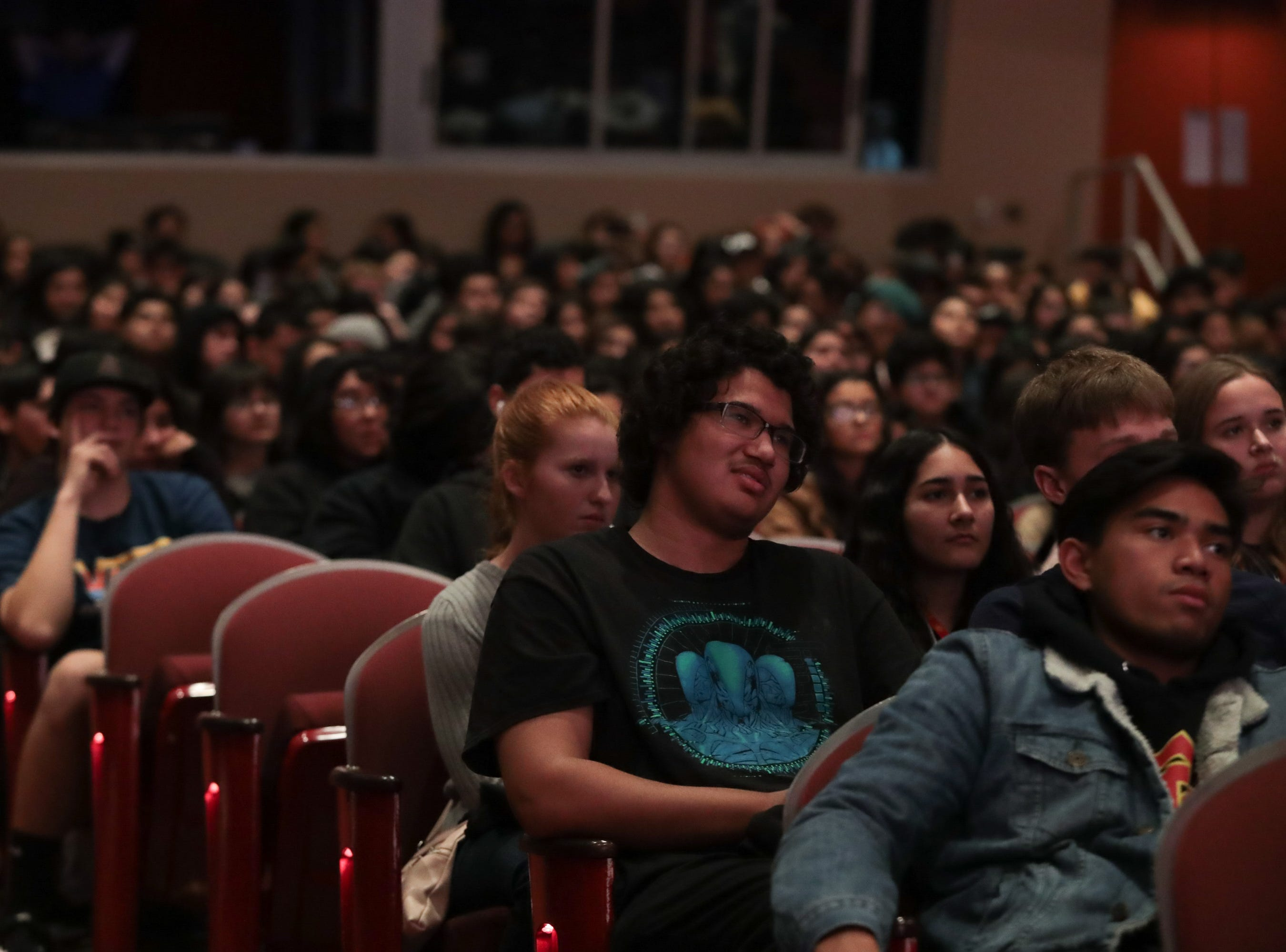 Local high school students attend a Palm Springs International Film Festival screening at Palm Springs High School, Palm Springs, Calif., January 14, 2018.