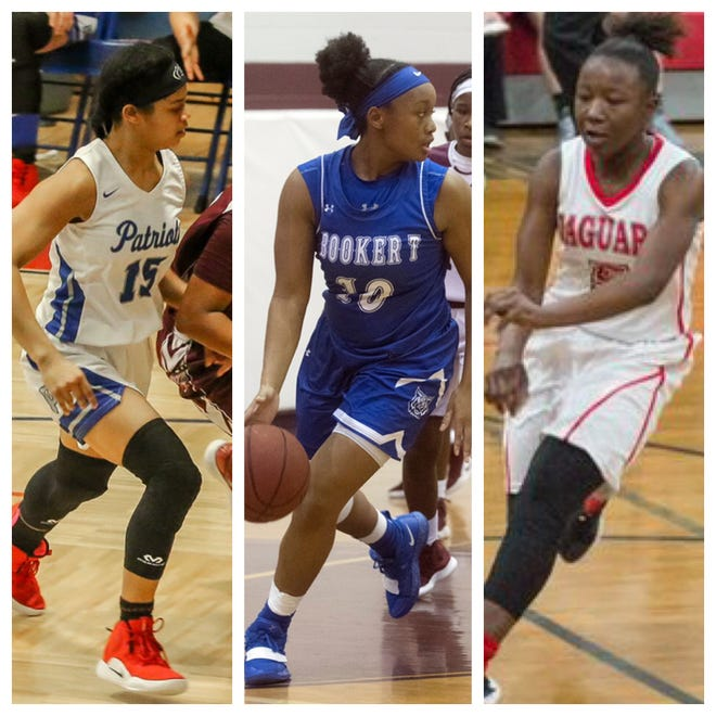 PNJ Girls Basketball Player of the Week nominees (left to right): Pace's Cyla Byrd, Booker T. Washington's Janelle Jones and West Florida's Khadija Chambless.