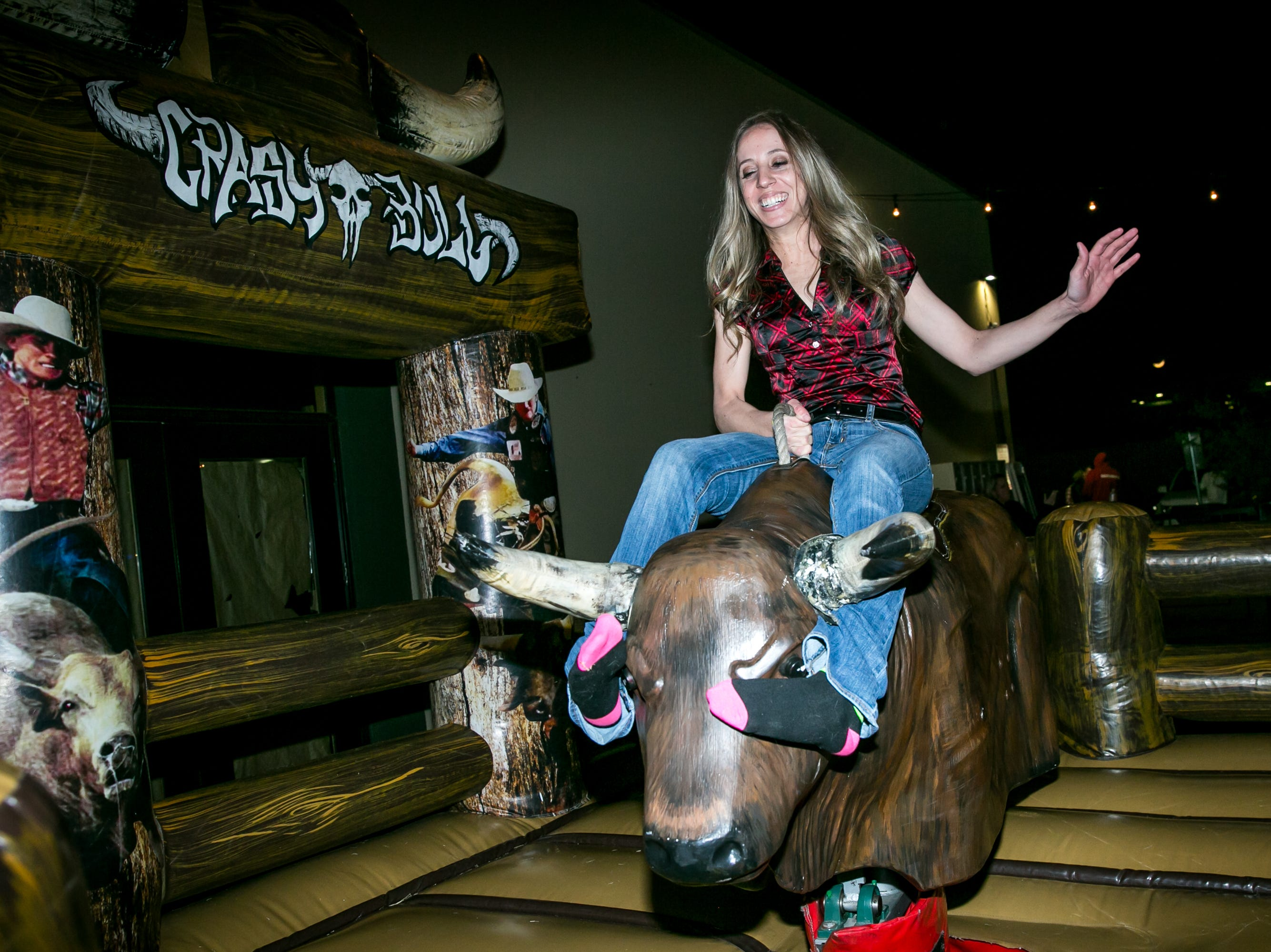 She tamed the mechanical bull during the KMLE Country 90's Throwback at The Van Buren on Friday, Jan. 11, 2019.