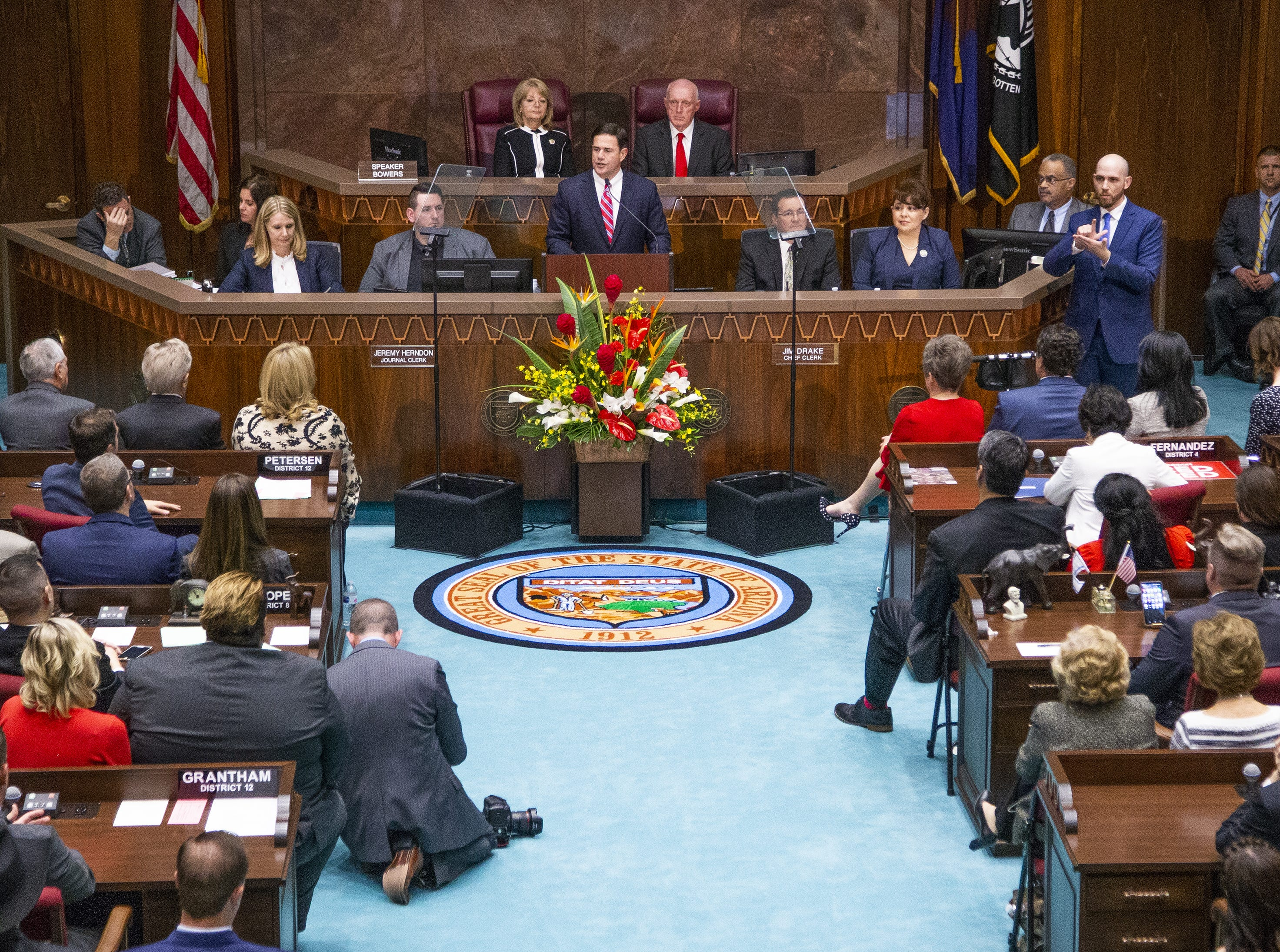 Gov. Doug Ducey delivers his State of the State address to the Legislature and guests gathered in the House of Representatives at the State Capitol on Jan. 14, 2019.