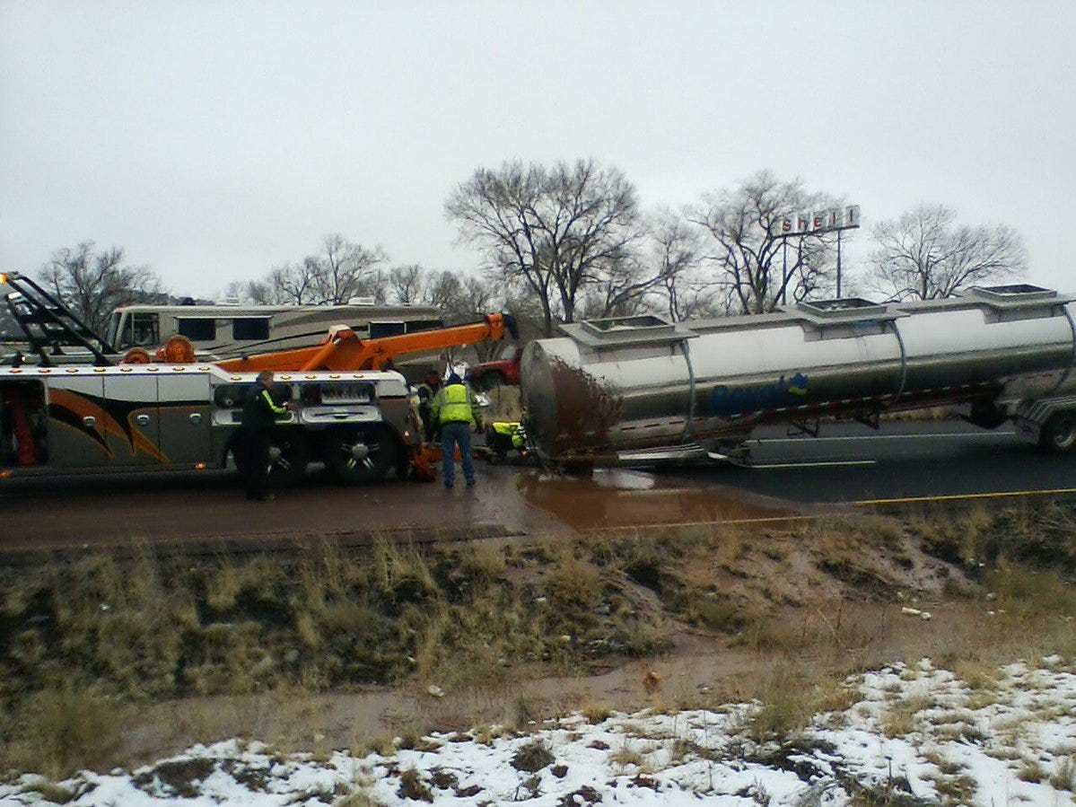 A tanker carrying 3,500 gallons of hot, liquid chocolate spilled its contents onto Interstate 40 near Flagstaff on Jan. 14, 2018.