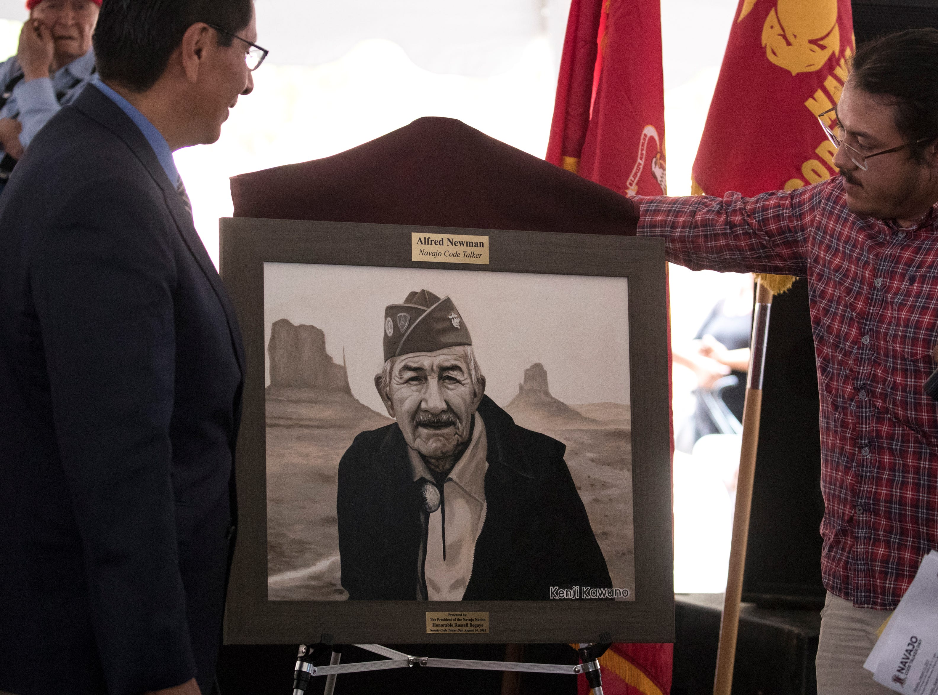A portrait of Navajo Code Talker Alfred K. Newman is unveiled during the Navajo Nation Code Talkers Day ceremony Aug. 14, 2018, at the Veterans Memorial Park in Window Rock.