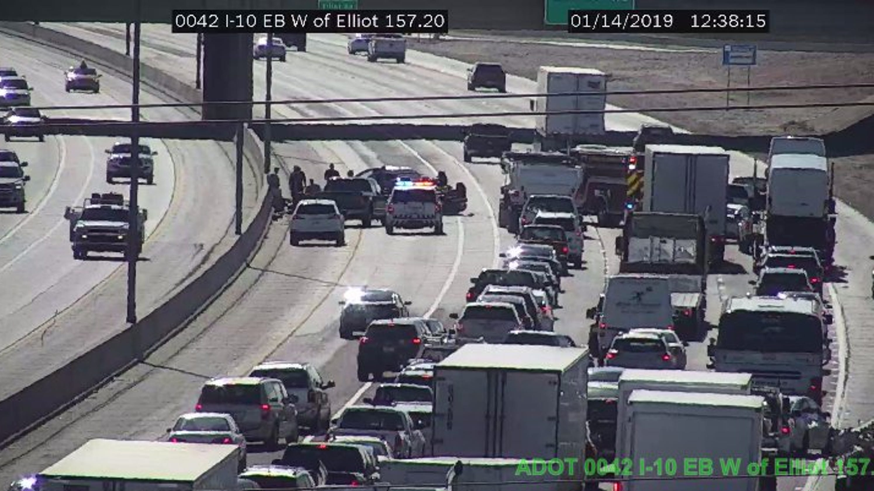 Rollover crash on I-10 eastbound at Elliott Road causes