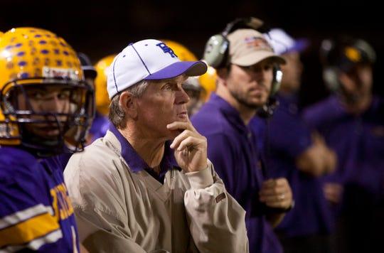 Former Lakeside Blue Ridge High head coach Paul Moro coaches during a 2010 game.