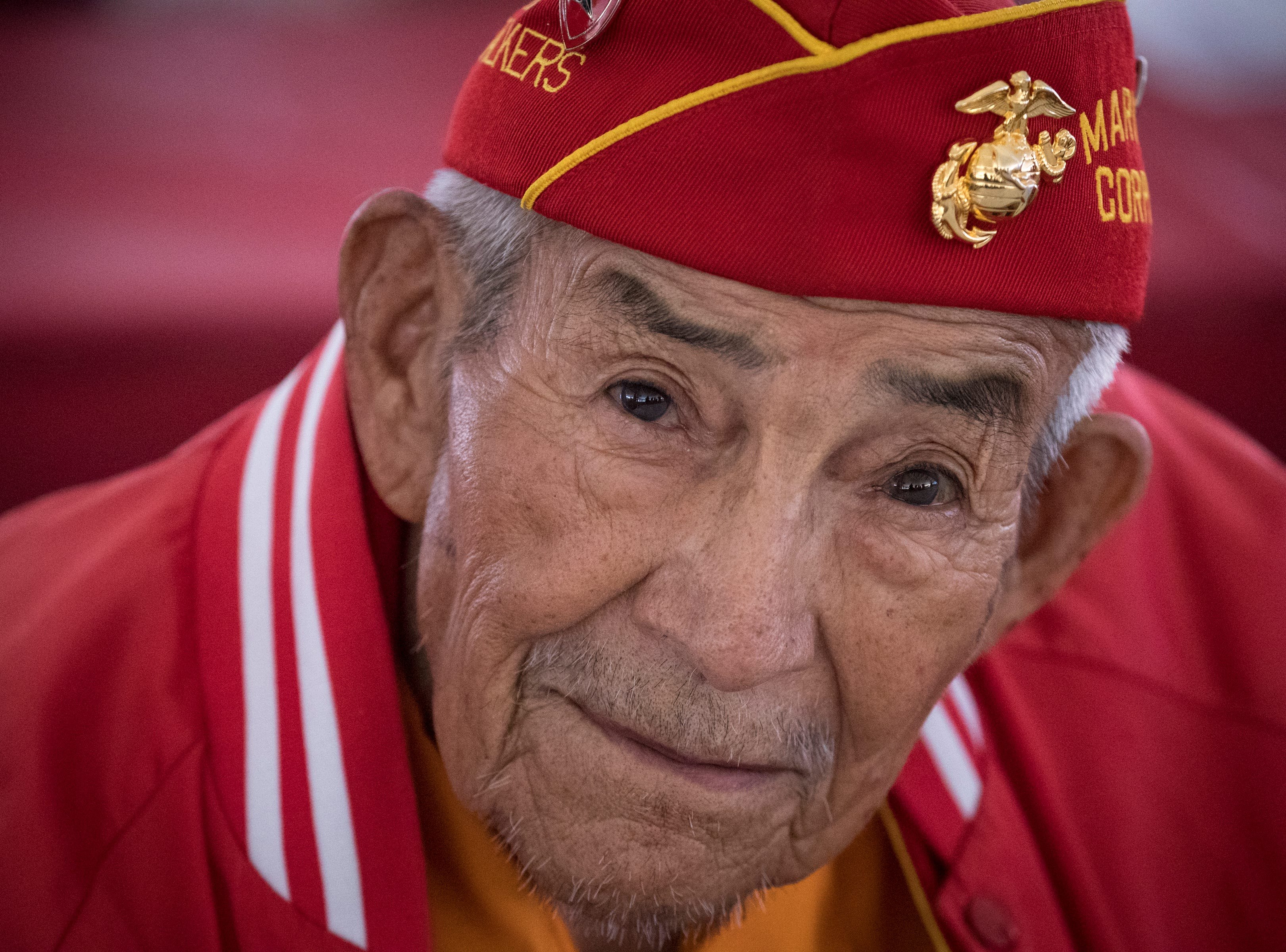 Navajo Code Talker Alfred Newman listens to the Marine Forces Reserve Band during the Navajo Nation Code Talkers Day ceremony Aug. 14, 2018, at the Veterans Memorial Park in Window Rock.