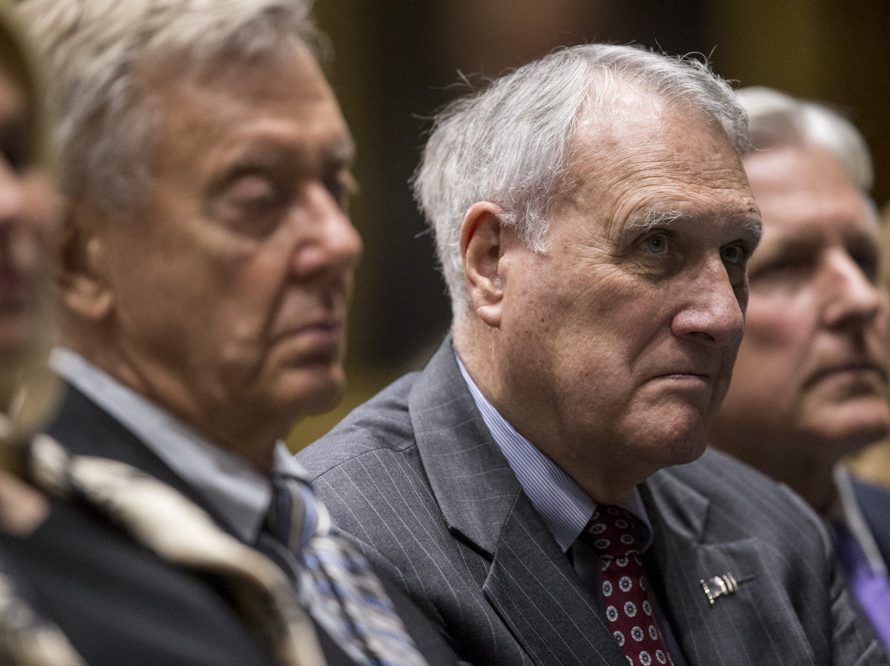 Former Arizona Senator Jon Kyl listens to Gov. Doug Ducey's State of the State address on Jan. 14, 2019, at the Arizona House of Representatives Chambers in Phoenix.
