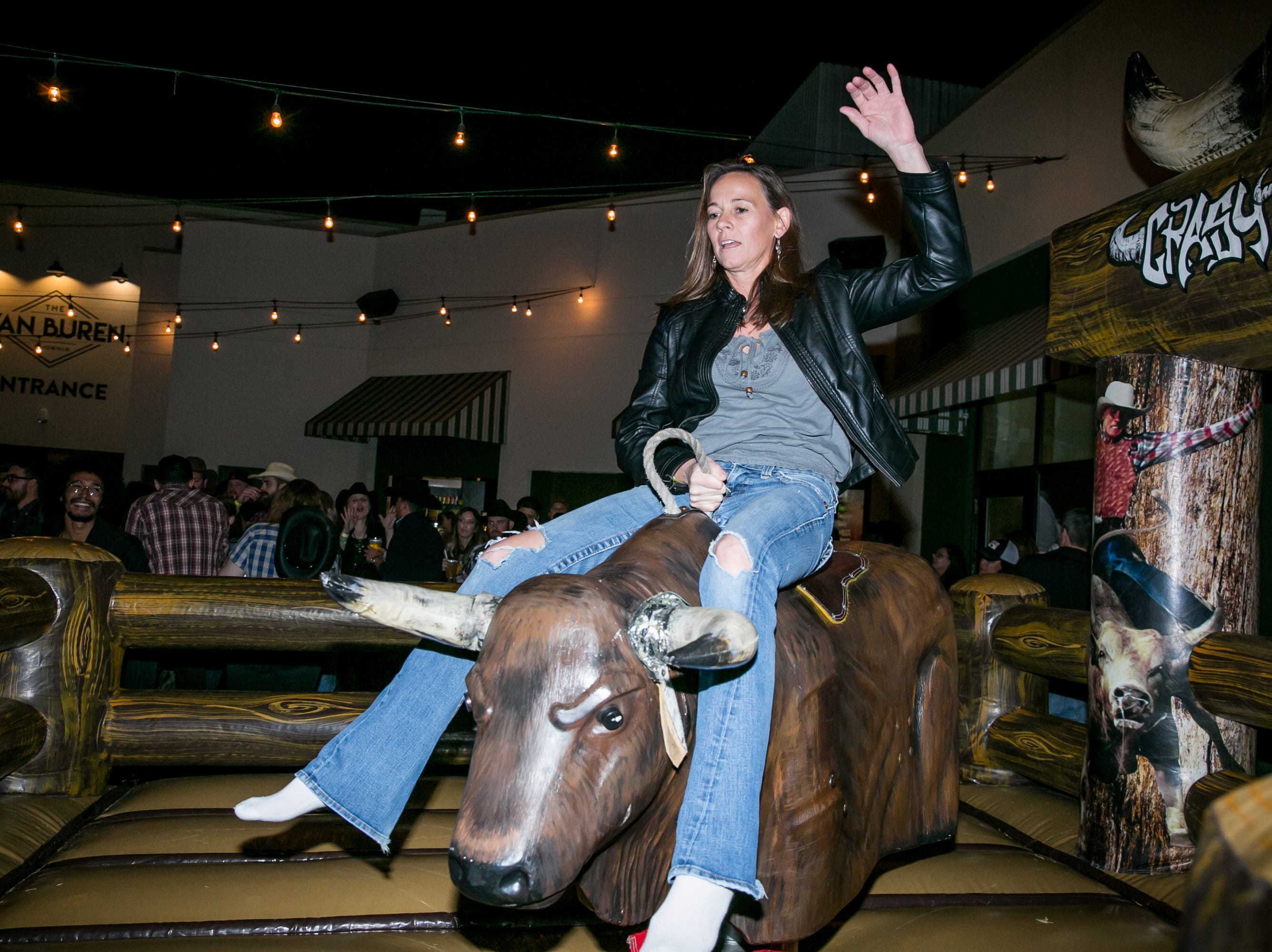 The mechanical bull was an audience favorite during the KMLE Country 90's Throwback at The Van Buren on Friday, Jan. 11, 2019.