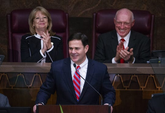 Gov. Doug Ducey delivers his State of the State address to the Legislature and guests gathered in the House of Representatives at the Arizona state Capitol on Jan. 14, 2019.