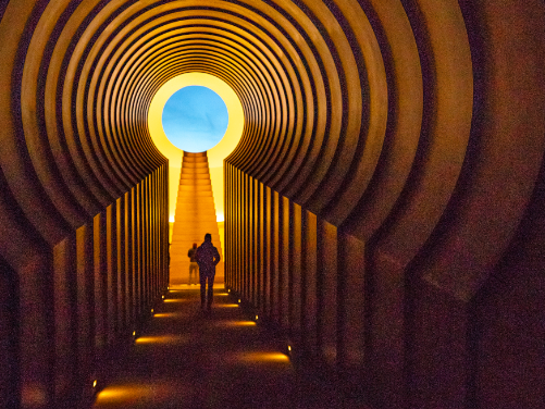 Alpha Tunnel looking toward the East Portal at Roden Crater, an art installation in the northern Arizona desert.