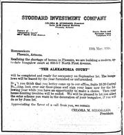 An ad for Celora M. Stoddard's bungalows, named Alexandria Court, appeared in the 'Arizona Republican' on May 18, 1919.
