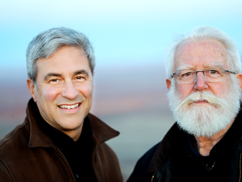 Michael Govan (left), president of the Skystone Foundation and James Turrell, the creator of the Roden Crater installation.