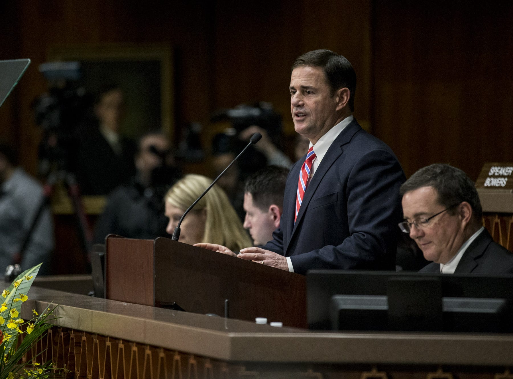 Gov. Doug Ducey gives his State of the State address on Jan. 14, 2019, at the Arizona House of Representatives Chambers in Phoenix.